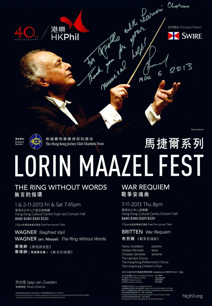 Note of Thanks from Maestro Maazel